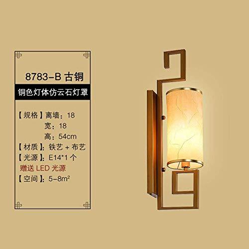 CHOUCHOU Apliques Pared Lámpara de Pared Lámpara de cabecera Lámpara de Pared Dormitorio del Fondo del Pasillo del Hotel de la lámpara de la Sala de la lámpara de Pared, 8783-B Bronce