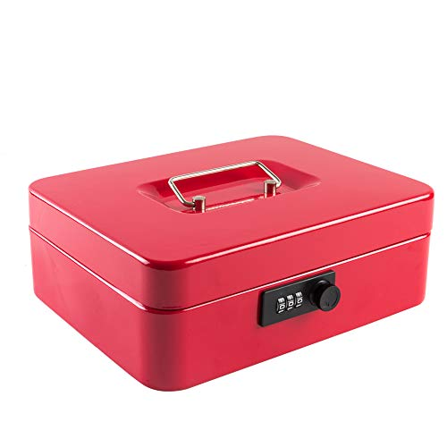 """KYODOLED Large Cash Box with Combination Lock Safe Metal Money Box with Money Tray for Security Lock Box 9.84""""x 7.87""""x 3.54"""" Red Large"""