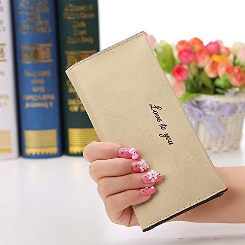 Xiaobing Cartera de Mujer de Alta Capacidad a la Moda para niñas, Bolso de Mano Largo Informal, Tarjetero de Cuero PU, cartera-beige-D1180