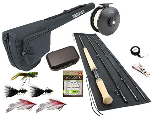 Wild Water Fly Fishing 11 Foot 4-Piece 7-Weight Switch Rod Complete Fly Fishing Rod and Reel Combo Starter Package for Bass and Pike