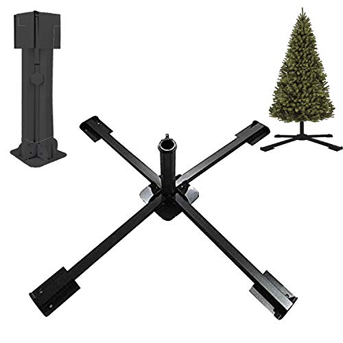 """GLORYA Christmas Tree Stand - Heavy Duty Artificial Christmas Tree Base for Fake Trees Less Than 2"""" in Diameter - Foldable Metal Universal Tree Stand for Xmas Tree Up to 100 Lbs Black"""