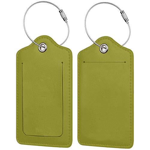 FULIYA Juego de 2 etiquetas de equipaje, de piel de alta gama, para maletas, tarjetas de visita, bolsa de identificación de viaje, color caqui, fondo