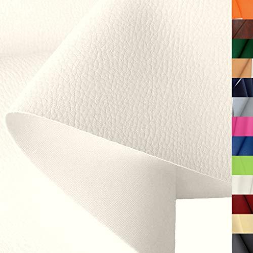 TOLKO Lederimitat mit Rindsleder Optik | weiche PREMIUM Meterware | für Stuhl Bank Sessel Sofa Sitzbezug 140cm breit | Kunstleder Bezugstoff Polsterstoff Polsterbezug Möbelstoff (Creme)