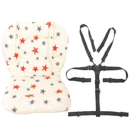 Twoworld Baby High Chair Seat Cushion Liner Mat Pad Cover and High Chair Straps (5 Point Harness) 1 Suit (Stars)