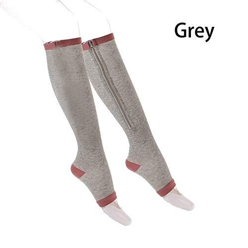 NCCYC Varizen Socken Unisex Kompressionssocken Reißverschluss Beinstütze Kniestrümpfe Damen Herren Open Toe Thin Anti-Müdigkeit Elastische Strümpfe Socken Herren (Color : Grey, Size : S)