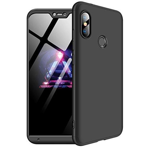 """FaLiAng Funda XiaoMi Mi A2 Lite(5.84""""), Ultra Fina 3 en 1 Desmontable Anti-Arañazos Hard PC Carcasa 360° Full-Cover Anti-Choque Protective Funda para XiaoMi Mi A2 Lite(5.84"""") (Negro)"""