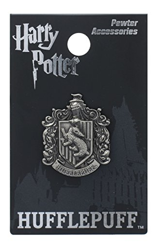 Harry Potter Hufflepuff School Crest Pewter Lapel Pin,Silver,1 inch