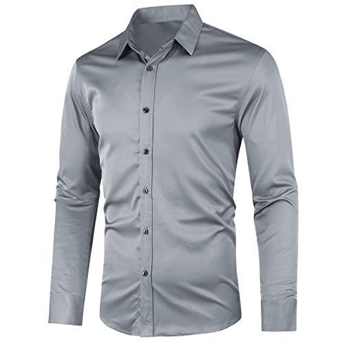 Allthemen Camicia da Uomo Elegante Camicie da Lavoro Basic da Uomo a Maniche Lunghe Slim Fit Shirt Casual da Lavoro Abbottonato Grigio S