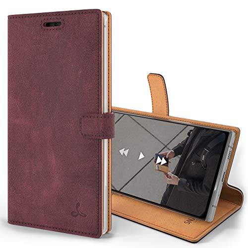 Snakehive Note 10 Plus Schutzhülle/Klapphülle echt Lederhülle mit Standfunktion, Handmade in Europa für Note 10+ - (Lila)
