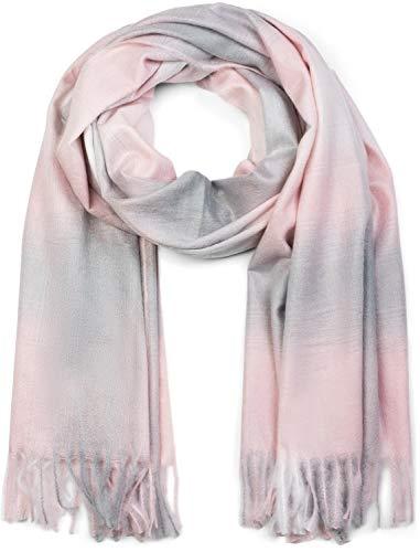 styleBREAKER Unisex Schal mit Karo Muster und Fransen, Winter, Stola, Tuch 01017098, Rose-grau-weiß, Einheitsgröße
