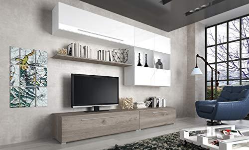 Bricozone Bangui Parete Attrezzata Mobile TV con Mensola e Mobili Sospesi Vetrine Soggiorno Salotto in Legno Design Moderno Sala da Pranzo 270 x 210 x 50 cm Colore Bianco Laccato e Rovere