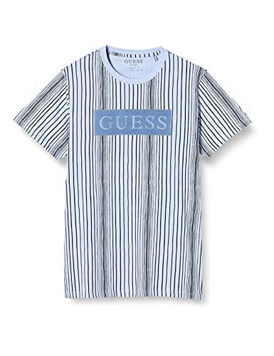 Guess - Camiseta para Hombre Azul - Rayas Logo Frontal Blue - M1GI55I3Z11S77J - Blue, Small