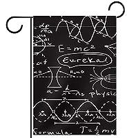 ホームガーデンフラッグ両面春夏庭屋外装飾 28x40inch,数学方程式ブラックホワイト