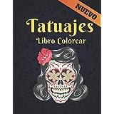 Colorear Libro Tatuajes: Hermosos diseños de tatuajes para aliviar el estrés 50 diseños de tatuajes de una cara para relajación Diseños de tatuajes increíbles para colorear Tatuajes de calaveras, animales y rosas