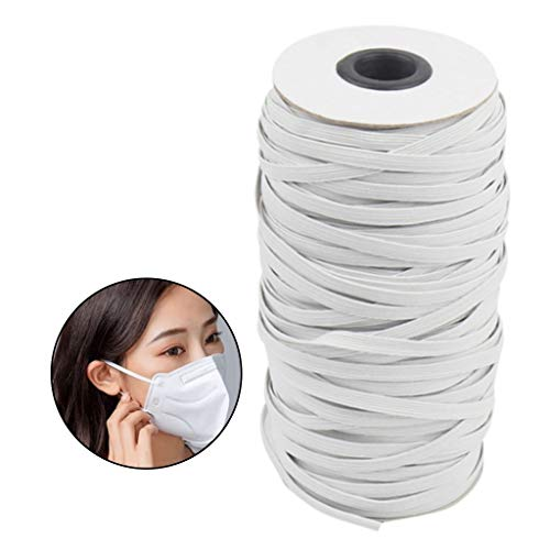 Youmymine White 120-Yards Length 1/4 Inch Width Braided Elastic Cord/Elastic Band/Elastic Rope/Bungee/White Heavy Stretch Knit Elastic Spool (White, 1/4 Inch)