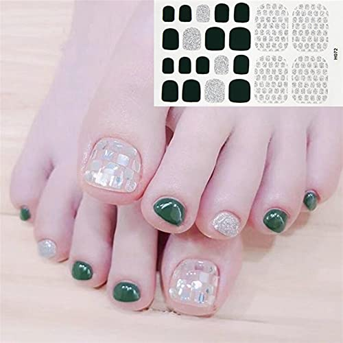 YSTSPYH Etiqueta engomada del Clavo 22 Consejos/Shool Toe Nail Wraps Cubierta Completa Nails Etiqueta engomada Decoraciones de Arte Manicura...