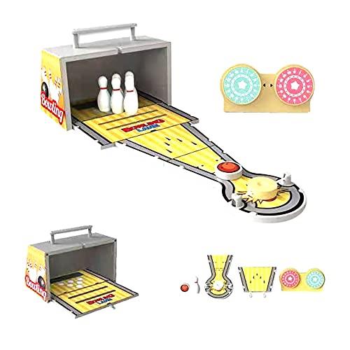 JKKJ Mini juego de bolos de escritorio, caja de madera portátil, juego de fútbol para niños, adultos, oficina, plegable, juguete de bolos, mesa de mesa clásico