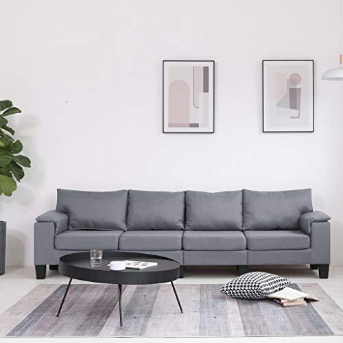 UnfadeMemory Sofá de Salon,Decoración de Hogar Habitación o Oficina,Conciso y Moderno,Tapicería de Tela,Patas de Plástico(Gris Claro, 4 plazas-254x70x75cm)