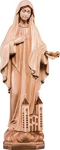 Ferrari & Arrighetti Imagen de la Virgen de Medjugorje en Talla de Madera Encerada con 3 Tonos - Mide 30 cm - Demetz Deur