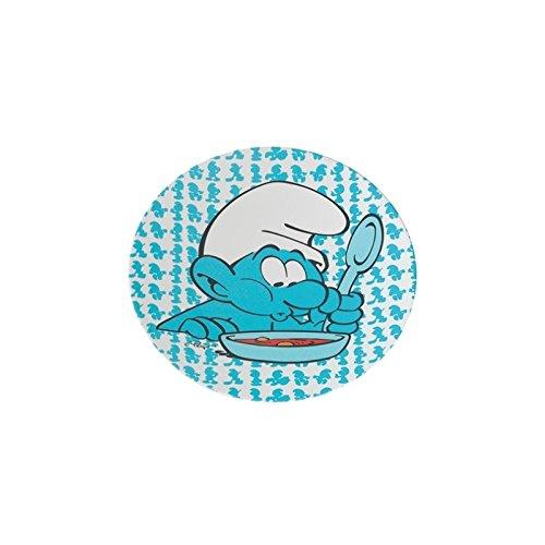 Di&Gi - Plato Llano de melamina, diseño de los Pitufos, Color Azul