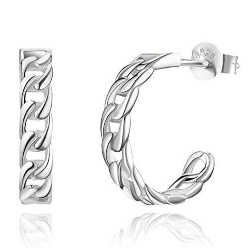 SWEETV 925 Sterling Silver Hoop Earrings for Women 12mm Small Huggie Earrings Lightweight Tiny Open Hoops Hypoallergenic Piercing Earring Jewelry for Girls Teens