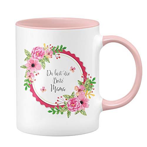 Tassenbrennerei Tasse Du bist die Beste Mama Geschenk für Mama zum Muttertag (Rosa)
