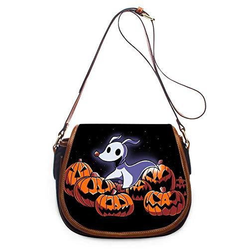 ZHENBK Frauen Umhängetasche Halloween Print Pu Lady Tägliche Totes Handtasche Schädel Kürbis Laterne Umhängetasche Umhängetaschen