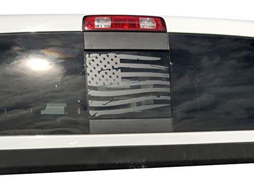 Elevated Auto Styling LLC- Compatible with Dodge RAM Back Middle Window Distressed American Flag 2009-2018 (Black)