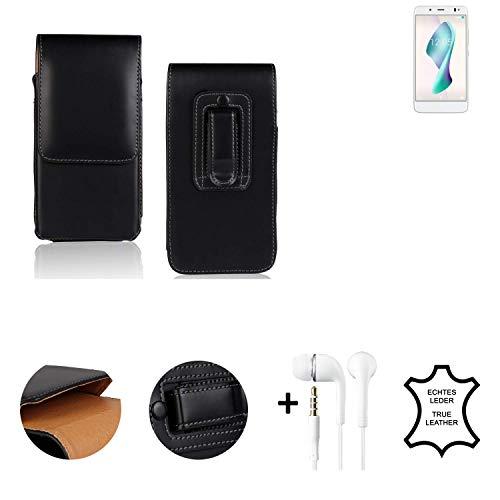 K-S-Trade® Leder Gürtel Tasche + Kopfhörer Für BQ Aquaris VS Plus Seitentasche Belt Pouch Holster Handy-Hülle Gürteltasche Schutz-Hülle Etui Schwarz 1x