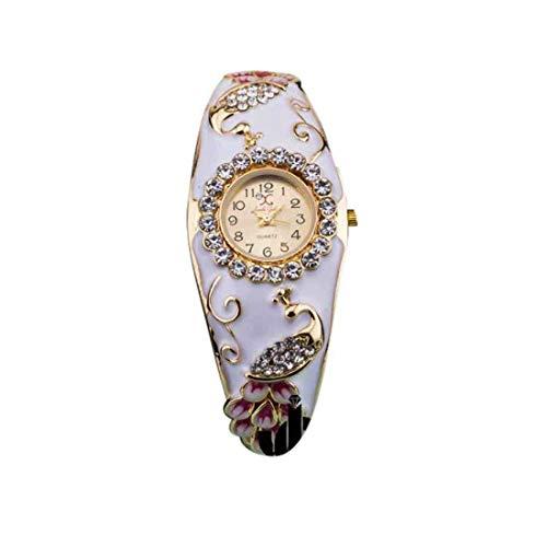 55Carat Reloj analógico de diseño elegante chapado en oro con perlas de cristal con tachuelas modernas étnicas, pulsera ajustable para mujeres y niñas marfil