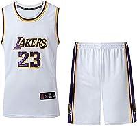 FJH #23スポーツバスケットボールジャージTシャツメンズバスケットボールジャージレイカーズジェームズクルーネックショーツ (Color : White, Size : M)