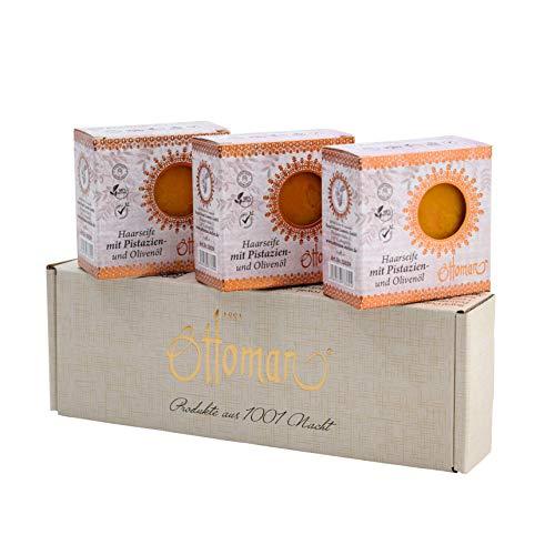 ottoman Haarseife Set 3x 190g mit Pistazien- und Olivenöl Naturseife vegan