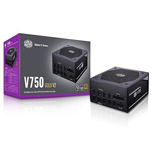 Cooler Master V750 Gold V2 Full Modulare, 750W, 80+ Gold Efficienza, Funzionamento Semi-Fanless, 16AWG PCIe ad alta efficienza Cavi v, Black Edition