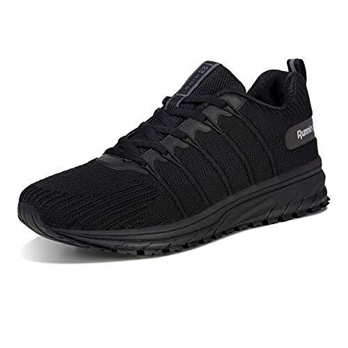 Herren Straßenlaufschuhe Damen Laufschuhe Fitness Turnschuhe Sneakers Sportschuhe Running Shoes(03-Schwarz,42)