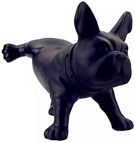 Desktop-Skulptur Bulldogge Statue Tier Schmuck Hund Skulptur Harz Handwerk Display Fenster Büro Hotel Wohnzimmer Dekoration Dekoration Kunst Figuren (Color : Black)