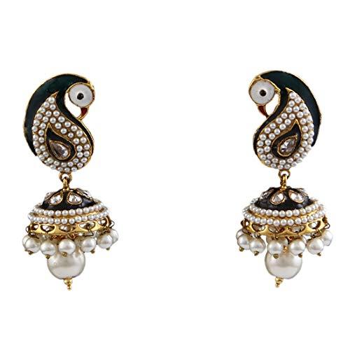 55Carat Peacock Dangle Drop Pearl Earring18K Gold Plated Enamel Work Indian Traditional Ethnic Jewellery for Women Girls Ladies ME 76-BLACK