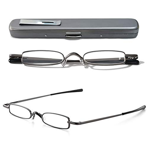 VEVESMUNDO Lesebrillen Schmal Metall Federscharnier Klassische Damen Herren Klein Mini Leicht Lesehilfe Sehhilfe Brillen mit Etui 1.0 1.5 2.0 2.5 3.0 3.5 4.0 (1 Stück Grau Lesebrille, 2.25)