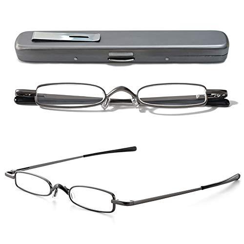VEVESMUNDO Lesebrille Metall Klassische Scharnier Schmal Stil Brille Lesehilfe Augenoptik Vollrandbrille Mit Etui (1 Stück Grau Lesebrille, 1.5)