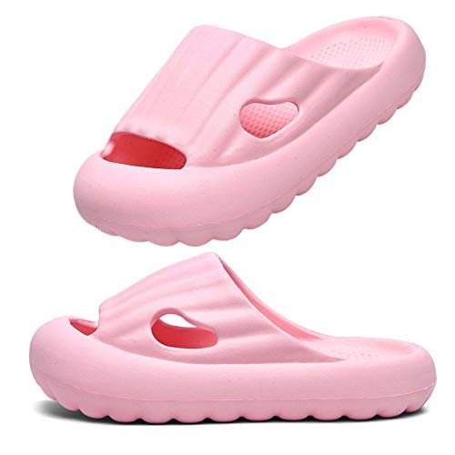 Boys Girls Slides Sandals Cute Toddler Soft Thick Sole Quick Dry Beach Pool Bathroom Massage Sandals Slippers for Kids (Pink, US 8.5-9.5 Toddler)