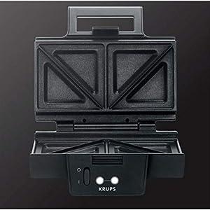 Krups Sandwichmaker FDK451   für gegrillte Sandwichtoasts in Dreiecksform   Antihaftbeschichtete Platten (Leichte Reinigung, Kein Anbrennen)   Aufheiz- und Temperaturkontrollleuchte   850W