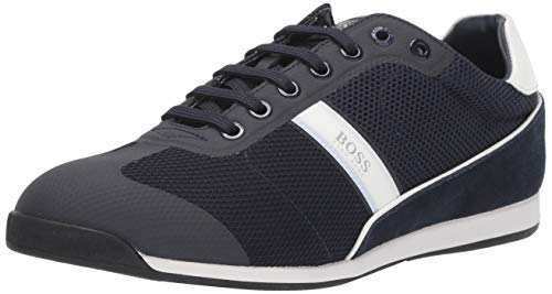 Hugo Boss BOSS Green Men's Akeen Suede Sneaker, Dark Blue, 9 M US