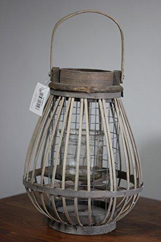 Rustieke houten lantaarn met metalen en glazen inzetstuk H 27 cm