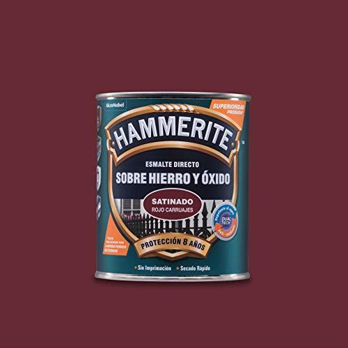 Hammerite Esmalte directo sobre hierro y óxido Satinado Rojo Carruaje 750 ml