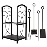 Pinty Firewood Rack with Fireplace Tool Set, 2 Level Fireplace Wood Holder with Tongs, Poker,...