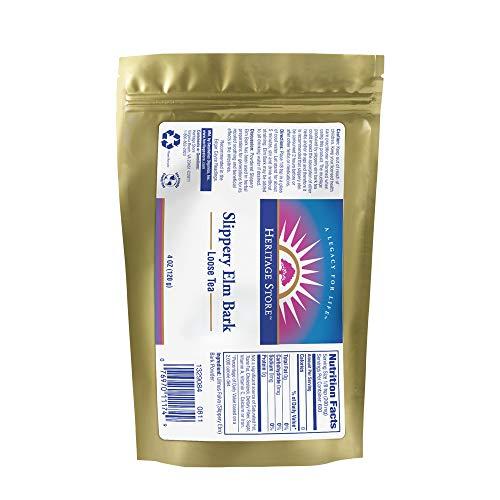Heritage Slippery Elm Bark Nutritional Supplement Powder, Loose Tea, 4ounce