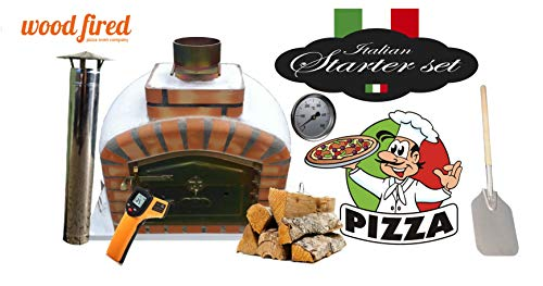 Brick Red Exclusive Wood Fired Pizza Oven Starter Kit, Orange Arch, Gold Door, 80cm X 80cm