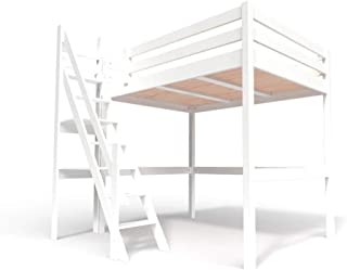 ABC MEUBLES - Lit Mezzanine Sylvia avec escalier de meunier Bois - 1130 - Blanc, 140x200