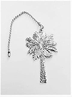 569CFP Ceiling Fan Light Pull Palmetto Palm Tree Pewter