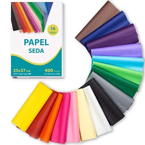 400 hojas Papel de seda 16 colores, 25 x 37cm (Más grande que A4) tisú, para envolver, patrones costura, manualidades. Libre de ácidos
