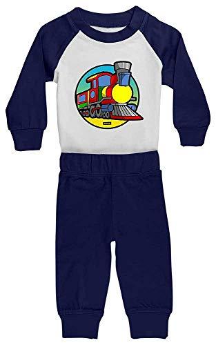 HARIZ Baby Pyjama Eisenbahn Tut Tut Auto Polizei Plus Geschenkkarte Weiß/Navy Blau 36-48 Monate